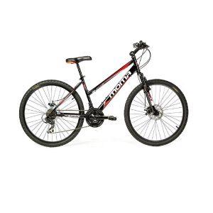 Bicicleta de montaña negra con discos de freno