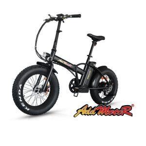 Bicicleta plegable con neumáticos gruesos.