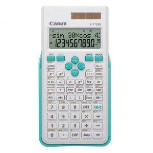Calculadora científica en color azul y blanco