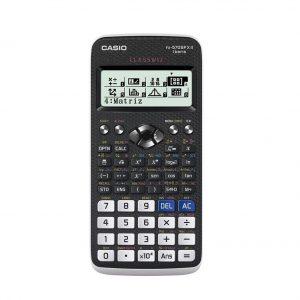 Calculadora científica en colo blanco y negro